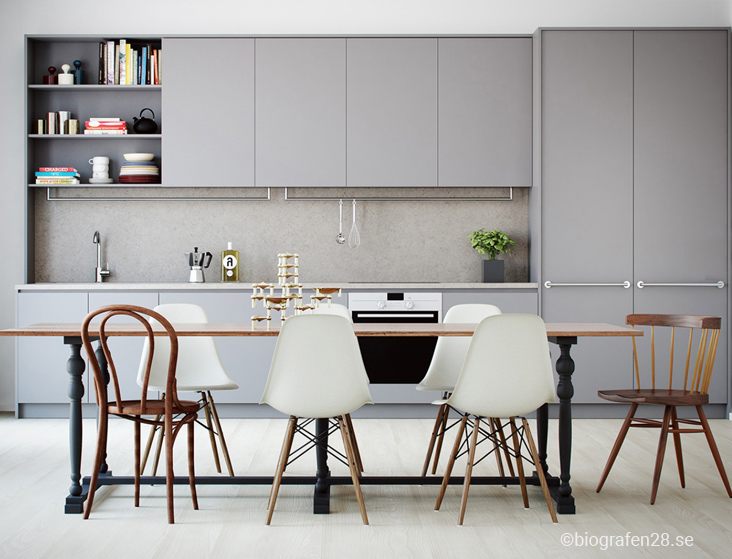 кухня-серого-цвета-фото