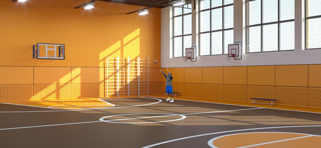 дизайн спортивного зала оранжевый